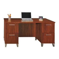 Bush - Four-Drawer Office Desk in Hansen Cherry - So - This handsome Somerset Desk with a Hansen Cherry finish and metallic leg accents combines elements of  traditional and contemporary styling.  Crafted for beauty and functionality, this desk has two letter file drawers and two miscellaneous storage drawers. * Two file drawers hold letter-size files. Two box drawers for miscellaneous supplies. 59.291 in. W x 29.528 in. D x 29.094 in. H