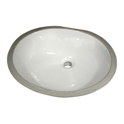 "Nantucket Sinks - Nantucket Sink GB-17x14-W Ceramic Lavatory Sink - Nantucket Sinks GB-17x14-W - 17"" x 14"" Glazed Bottom Ceramic Oval Bathroom Sink in White. This sink has a 1.75"" drain diameter."