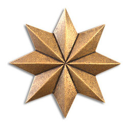 "Compliments Accessories - Galaxy Tile - Faceted 2"" Geometric Star tile in an Aged Brass finish"