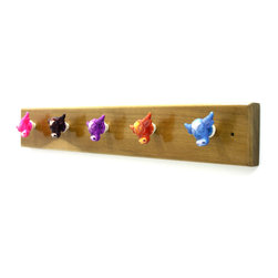 MarktSq - Wooden Hook Rack With Colorful Resin Knobs - This custom made wooden hook rack is made of seasoned wood and has been fitted with five colorful resin knobs that can be used to hang items on. This unique hook is sure to add color and charm to your room. The wood has been polished and lacquered.