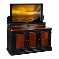 Sycamore TV Lift Cabinet - The Sycamore TV Lift Cabinet adds quality and style to any decor, with plenty of space behind the doors for your electronics and a great deal of extra room provided by the two drawers on the top. An integrated heavy-duty, rack and pinion drive TV lift mechanism silently lowers the television into the console. This unique design allows the Sycamore to provide the proper access and positioning of the screen no matter where it is positioned. Add the beautiful Sycamore TV Lift Cabinet to your home today!