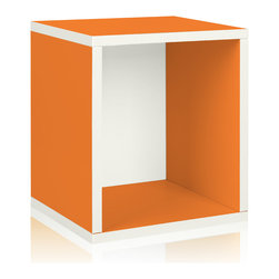 Way Basics - Way Basics Eco Stackable Storage Cube Plus, Orange - Why purge when you can neatly stack and store? Super cubes come to the rescue in a dorm room, studio apartment, home office or other space-challenged place. They're a breeze to build (just peel and stick!) and formaldehyde- and VOC-free.