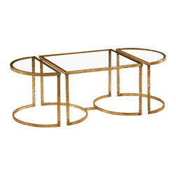 "Inviting Home - Three Section Coffee Table with Glass Top - Three section hand-wrought iron coffee table with distressed antiqued gold-leaf finish and glass top overall dimensions: 50-1/2""W x 23-1/2""D x 18-1/4""H side sections: 11-1/4""W x 23-1/2""D x 18-1/4""H middle section measures - 28""W x 23-1/2""D x 18-1/4""H Three section hand-wrought iron table with distressed antiqued gold leaf finish and glass top. This hand-wrought iron table is hand-made in Italy."