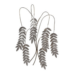 iMax - iMax Meyeul Silver Leaf Wall Hanger - Slender, willowy stems sprout wrought iron leaves in this elegant, nature-inspired wall sculpture.
