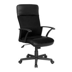 Flash Furniture - Contemporary Leather & Mesh Office Chair w Er - The perfect combination of leather and fabric makes this terrific executive office chair ultra comfortable and totally affordable. Modern and stylish, it's perfect for today's contemporary office lifestyle. It features a super-smooth pneumatic gas lift so anyone can adjust it to their ideal height. The contoured high back with locking tilt and tension controls make this chair an ideal choice for any busy executive. Super value chair. High back executive swivel. Black leather and breathable mesh combination. Lumbar support. Locking tilt control. Tension control mechanism. Nylon base. Dual wheel casters. Seat: 18.25 in. W x 20 in. D. Back: 19.25 in. W x 26.5 in. H. Seat Height: 16.5 in. - 21.5 in. H. Overall Height: 43 in. - 47.5 in. H (33 lbs.)