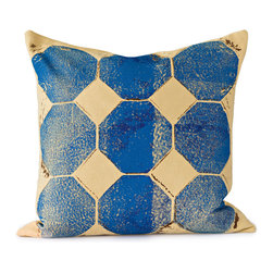 BY MERCATO - Blue Octagon Throw Pillow - Our blue octagon pillow design uses layered bright blue and dark blue color on a soft wheat yellow dyed fabric. The octagons are accented with brown imperfect spattering and detail to create even more visual interest. The end result is a very graphic and artistic decorative design.