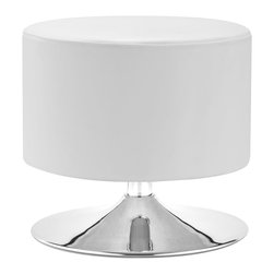 ZUO MODERN - Plump Ottoman White - Throughly modern, the Plump ottoman provides a cool and clena pop for any space.  The body is leatherette and the swivel base is chrome.