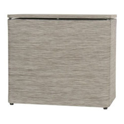 Lamont Home - Cambria Bench Hamper Sage/Brown - Made from high quality PVC/Polyester fabric, these traditional styles have been updated in a wide range of patterns to match any decor. A vinyl lid with metal grommet completes the look for the hamper. A very durable product that adds style to any laundry room.
