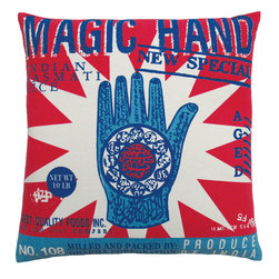 KOKO - Vintage Rice Sack Pillow, Magic Hand - Add a little magic to your sofa with this charming pillow. This vintage hand design with the bold starburst behind it is a great statement piece. You could mix and match this with a bold collection of eclectic pillows.