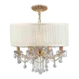 Crystorama - Crystorama Brentwood Chandelier X-MLC-WAS-DG-9844 - This isn't your Grandmother's crystal. The Brentwood Collection from Crystorama offers a nice mix of traditional lighting designs with large tailored encompassing shades. Adding either the Harvest Gold or the Antique White shade to these best selling skus opens the door to possibilities for these designer friendly chandeliers. The Brentwood Collection has a touch of design flair that will work for your traditional or transitional home.
