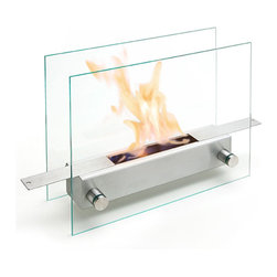 Carl Mertens - Ameico Apollo Tabletop and Fireplace - Carl Mertens - Made from high-grade 18/10 stainless steel and glass, this tabletop fireplace by Carl Mertens is modern interpretation of a timeless element now missing from so many homes - the fireplace. With its beautiful glow and soft warmth, the 3-4 hour burn time will provide much enjoyment for you and your guests. Looks stunning as a table centerpiece. Doors can be opened and closed to adjust flame size. Metal hook included for operating doors while unit is burning. Use bio-fuel for a clean burning, smokeless flame.