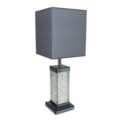 """ecWorld - Urban Designs Crystal Loft 30"""" Glass Table Lamp - Grey Shade - Add a touch of glamour to your living space with this Urban Designs table lamp. A stylish silhouette is adorned with dazzling crystal accents to enhance the appeal.  A lovely choice atop any sofa table, nightstand, or dresser."""