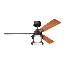 """Kichler - 52"""" Pacific Edge 52"""" Ceiling Fan Oil Brushed Bronze - Kichler 52"""" Pacific Edge Model KL-300157OBB in Oil Brushed Bronze with Reversible Cherry/Walnut Finished Blades."""