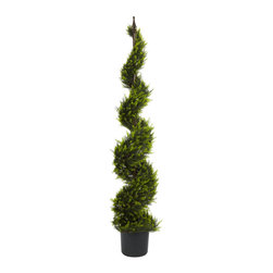 Nearly Natural - 5' Cypress Spiral Tree - Standing tall at five feet high, our always green Cypress Spiral is one of our more interesting designs. Wrapped around a pole, this leafy plant creates an interesting spiral design sure to draw the attention of admirers. While other Cypress plants lose their leaves and color, you can be sure you'll always look forward to the rich variations of green of this geometric design. Comes with pot and faux soil.