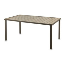 Ace Evert Inc. - Resin Wood Rectangular Dining Table - This stylish outdoor table is perfect for entertaining in your backyard. Features durable steel construction with resin wood tabletop.