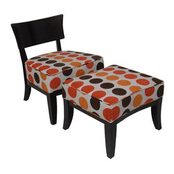 Carolina Accents - 2 Pc Contemporary Wood Back Metro Chair w Ottoman Set - Bold and modern with a dynamic polka dot pattern for added visual interest, this contemporary chair and ottoman set will be an appealing addition to any decor. Perfect for urban spaces, the chair has a wood back and frame and is finished in espresso with a bright multicolored cushion seat and is paired with a matching ottoman with flared legs. Includes chair and ottoman. Upholstered seat. Bent wood back. Cushions designed with bold polka dots. Made from wood, foam and fabric. Chair: 26.50 in. W x 28.63 in. D x 32.5 in. H. Ottoman: 24.50 in. L x 22.38 in. W x 18 in. HGive any room a boost with this bouncing colorful woven fabric neatly tailored on an espresso finished metro frame.
