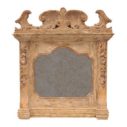 Italian Mantel Mirror - Estate splendor is unmistakably declared by the prodigious size and sumptuous architectural detail of our Italian Mantel Mirror.  Its arched and scalloped reflective surface has been hand-antiqued for richness and depth, but the mirror's nearly-square frame inspires true awe: finished in a warm, rustic sandstone, it incorporates a broken pediment carved with magnificent textures, as well as wildflower appliques with rococo acanthus leaves and heavy, tailored bottom molding.