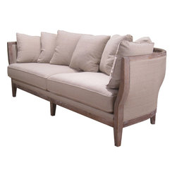 Four Hands - Hayes Sofa - Inspired by 18th century French cabriole-style sofas, this hand-crafted sofa is set to be the romantic jewel in any setting. The curvy, chic oak and fabric sides and back wrap you in splendor while plump pillows provide a serenade of comfort.