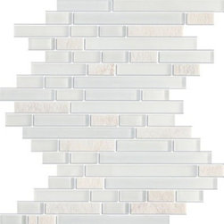 Zen Glacier Tumbled Brick Marble & Glass Tile - Random Bricks Pattern Zen Glacier Tumbled & Froasted Mesh-Mounted Marble & Glass Mosaic Tile is a great way to enhance your decor with a traditional aesthetic touch. This Mosaic Tile is constructed from durable, impervious Marble & Glass material, comes in a smooth, unglazed finish and is suitable for installation on floors, walls and countertops in commercial and residential spaces such as bathrooms and kitchens.