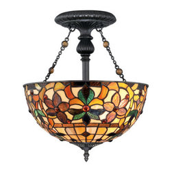 "Quoizel - Quoizel TF878SVB Vintage Bronze Kami Transitional 2 Light Small Semi - Transitional 2 Light Small Semi Flush Mount from the Kami CollectionFeatures:Utilizes (2) 100W A19 Medium Base BulbsWeight: 8Dimensions: 16"" H x 14"" WMaterial: SteelFeatures Tiffany Glass ShadesWire Length: 6""CUL Listed: Incandescent DampAbout Quoizel:Founded in 1930 in New York, Quoizel is dedicated to integrity and quality in both it s products and the way it does business. Quoizel is located in Charleston, South Carolina and remains privately held, and family owned and operated."