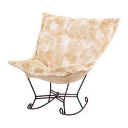 Howard Elliott - Luscious Natural Scroll Puff Rocker - Mahogany Frame - Fashionista! A Coco Puff Chair is a sophisticated mix of texture and color. Like a gorgeous wool coat, this piece will stand out while perfectly complimenting your fashion forward style.