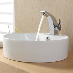 Kraus - Kraus White Round Ceramic Sink and Illusio Basin Faucet - Add a touch of elegance to your bathroom with a ceramic sink combo.