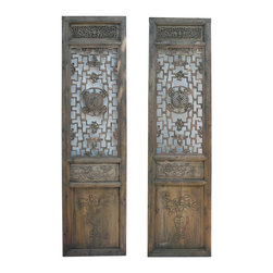 Golden Lotus - Pair  Carving Tall Wood Door Panels - This is a pair of nicely made tall wooden panels. They were doors in the old Chinese house. The top center part is see through wood work of Ru Yi pattern and round circle theme of a person. The top is a bat motif and the bottom is flower vase pattern. Each piece has two sides finish.