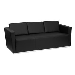 Flash Furniture - Flash Furniture Hercules Trinity Series Contemporary Black Leather Sofa - This contemporary black leather reception sofa will bring a clean and professional look to your reception area. This sofa will adapt in a variety of environments with its clean line appearance, thick fixed cushion seats and overall comfort level. [Z-BTRINITY-8094-SOFA-BK-GG]