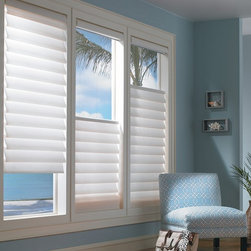 Vignette® Modern Roman Shades- Hunter Doulgas - Vignette® Modern Roman Shades feature consistent folds and no exposed rear cords, keeping windows uncluttered. Choose from different fold styles and sizes, and a horizontal or vertical orientation.