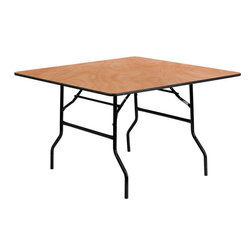 Flash Furniture - 48'' Square Wood Folding Banquet Table - This wood folding table is very useful since it can be instantly stored and is easy to carry at the same time. This durable table was built for constant use in hotels/ banquet rooms/ training rooms and seminar settings. Not only is this table durable enough for the everyday rigors of commercial use this table can be used in the home when it comes to setting up your own personal party plans.