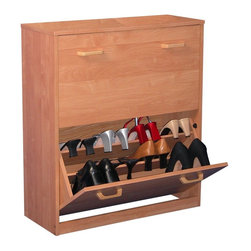 "Venture Horizon - Spartak Double Level Shoe Storage Cabinet, Double - Features: -Tilting doors save space. -Large storage capacity. -Stackable. -Cabinet keeps shoes clean and protected. -Accommodates both men's and women's shoes. -Available in oak, cherry, black and white wood finish. -Overall dimensions: 34"" H x 30"" W x 11.5"" D. -Cabinets are 30"" W x 11.5"" D. This good looking, practical cabinets will accommodate the largest shoe collections, getting them off the floor and neatly organizing them in their own space."