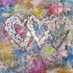 """Rochelle Carr - Original Hand Sculpted Heart Painting """"Il Dolce Far Niente"""" by Rochelle Carr - Original acrylic painting on gallery wrap canvas. Sides painted black do no need to frame. Artist signed/dated back. Bio of artist included with shipment. Acrylic, silver leaf on canvas."""