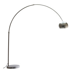 LexMod - Arco Style Lamp with White Round Marble Base - Reach the highest point with this classic work of distinction. The Arco Style Lamp is a piece that hovers above all others for its justified descents and lamp head of import. A source of light for any contemporary home, the Arco Style Lamp is an attractive source of renown that models movement relative to freestanding form.