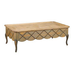French Heritage - Lyon Rectangular Coffee Table - Beauty surrounds this eye-catching coffee table. The elegant details ensure it will look good even after you pile it high with magazines, remotes and other odds and ends accumulated throughout the week.