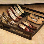 Under-Bed Sliding Shoe Rack - The Under-Bed Sliding Shoe Rack is a great way to make use of the space under your bed. It's a way to interchange seasonal shoes, too.
