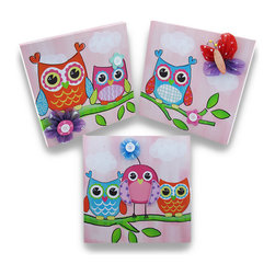 Zeckos - Adorable Owls and Flowers 3-D Canvas Wall Hanging Set of 3 - This adorable set of coordinating wall hangings would certainly dress up the walls of any little owl fans and feature colorful owls perched on a leafy branch that are adorned with whimsical fabric and wood cut-outs of butterflies and flowers creating a 3-D effect and then accented with buttons, all set on a soft pink background that just makes the colors pop Made of canvas that has been stretched over a wood frame, each piece is fabric backed and easily hangs on the wall using a single nail or screw via the attached hanger. These wide-eyed owl wall hangings each measure 11 3/4 inches high, 11 3/4 inches long and 1 1/8 inches deep and would create a fun focal point in children's rooms, play rooms or nurseries, and would make a wonderful shower gift
