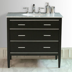 "Stufurhome - Whitney Single Sink Vanity in Black Finish with Italian Carrara White Marble Top - The ideal choice for a contemporary home, the 36"" Whitney Single Sink Vanity is striking with its clean lines and fresh, simplistic design. The ebony-finish, solid-wood vanity provides a crisp and bold contrast with the Italian Carrara white marble top. Sleek aluminum hardware adorns the unit's three sizeable drawers, which provide an impressive amount of storage space for towels and toiletries."