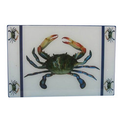"Handcrafted Model Ships - Crab Cutting Board 18"" - Beach Home Accent - This fun and eclectic glass crab cutting board bring the beach directly to any setting. Handcrafted by our master artisans, this trivet is the ideal piece for nautical enthusiasts and beach-lovers alike. Available in different styles, let the beach come to you as you use you nautical cutting board to cut a wide variety of fruits and veggies."