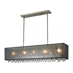 Five Light Brushed Nickel Organza Black Shade Island Light - The Aura family of linear shaded fixtures feature a stunning double line of multi faceted pyramid crystal. This fixture features a black organza shade. In all cases the fixtures are finished with brushed nickel.