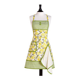 Jessie Steele - Jessie Steele Summer Lemons Bib Gigi Apron and Towel - Jessie Steele Summer Lemons Bib Gigi Apron and Towel. Add some fresh, summery style to your next baking session with the Summer Lemons Bib Gigi Apron and Towel from Jessie Steele. Crafted from fine cotton fabric, this apron features a fun, playful design. Green-and-white stripes fit in perfectly with the lemon print, while a side pocket adds plenty of functionality. Plus, it comes with a removable towel so you can clean up messes with ease. Wear this apron to enjoy some whimsical style while you cook, or gift it to a friend to make her the hostess with the mostest.Ties at waist and neckOne side pocketComes with a medium-weight linen cotton towelMade in China