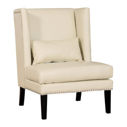 TOV Furniture - Chelsea Cream Leather Wing Chair - Available in Cream bonded leather, the Chelsea Chair combines the chic design and traditional comfort, inspired by its namesake. The upholstery is accented with hand applied silver nail head trim.
