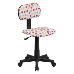 Flash Furniture - Multi-Colored Dot Printed Computer Chair - This attractive design printed office chair will liven up your classroom, dorm room, home office or child's bedroom. If you're ready to step out of the ordinary then this computer chair is for you!