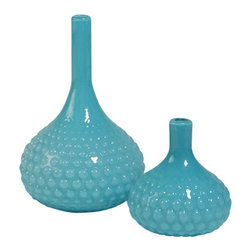 Zhush - Large Glass Bulb Vase - These contemporary vases are sure to enhance any decor with the beautiful blue and bulb shape.
