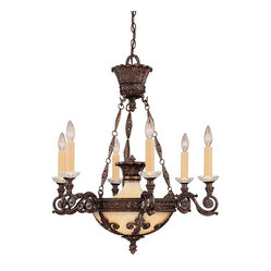 Savoy House - Corsica 6-Light Chandelier - The height of splendor is captured with this European style chandelier. The details alone will amaze, with their intricate artisan touches of tortoise shell and crystal. This way to illuminate your house will not disappoint.