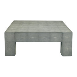 Lillian August - Lillian August Gavin Cocktail Table in Charcoal Shagreen LA99315-01 - Large scale parson's design cocktail table in a new charcoal faux shagreen finish. A variation of the existing LA94313-01 gavin in its off-white shagreen. One large working drawer.
