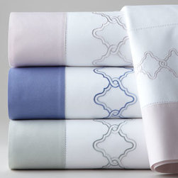 SFERRA - SFERRA Full/Queen Sonno Flat Sheet - Beautiful link embroidery and contrasting cuffs on the flat sheets and pillowcases make these 406-thread-count, Italian sheets all the more special. From Sferra. Flat sheets and pillowcases are white Egyptian cotton percale with (top to bottom) Lilac....