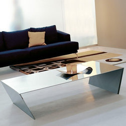 Cattelan Italia - Cattelan Italia   Jet Coffee Table - Made in Italy by Cattelan Italia.The result of the best in Italian design, the Jet Coffee Table draws inspiration from eye catching minimalist design. Sleek and creative, it sports a seamless design, creating the illusion of being crafted from a single piece of stainless steel. Each side is artfully bent to form its angular and thought provoking legs. Choose the perfect color for your modern space. A strong presence, this modern coffee table turns any room into an impressive modern living space for generations to come.