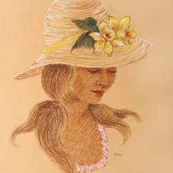 Gloria Trachtenberg, Portrait of Blonde Woman in Straw Hat, Color Pencil Drawing - Artist:  Gloria Trachtenberg, American
