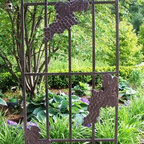 Oakland Living - Outdoor Grape Trellis - Ideal for any climbing plant or vine. Adorned with twisty grape vines and ripe clusters of grapes. Metal hardware. Fade, chip and crack resistant. Warranty: One year limited. Made from durable tubular iron. Hammer tone bronze hardened powder coat finish. Minimal assembly required. 28.75 in. L x 1 in. W x 79 in. HThe Oakland vineyard collection is perfect for fruit and wine lovers alike. The attractive grape vines will add beauty and style to any outdoor patio garden setting. Our trellis are perfect edition to any setting. Adds beauty and style with functionality to any back yard or garden. We recommend that products be covered to protect them when not in use. To preserve the beauty and finish of the metal products, we recommend applying epoxy clear coat once year. However, because of the nature of iron it will eventually rust when exposed to the elements.