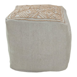 """Surya - Surya Amber Beige Pouf - The Surya Amber pouf lends the modern sofa an eclectic partner. Atop its square beige surface, tan diamonds converge in compelling geometric form. 18""""W x 18""""D x 18""""H; 100% cotton"""